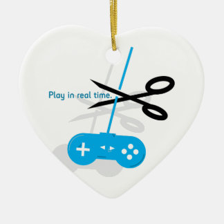 Play Real Time Double-Sided Heart Ceramic Christmas Ornament