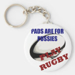 Play Rugby Basic Round Button Keychain