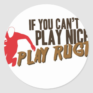 Play Rugby Classic Round Sticker
