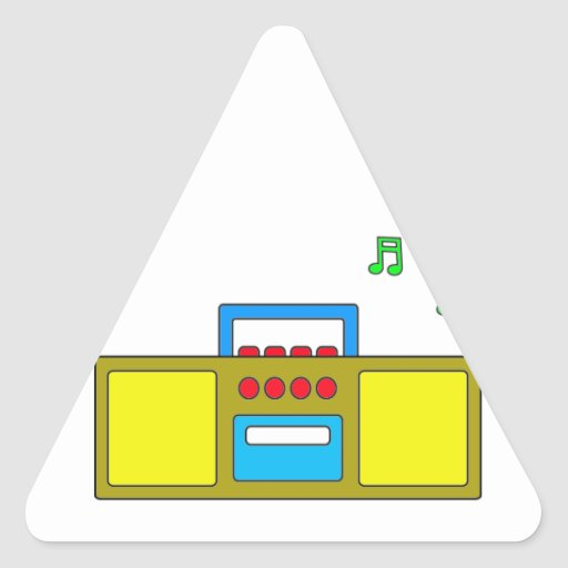 Play Song Radio Happy and Fun Triangle Sticker