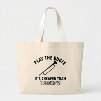 Play the bugle tote bags