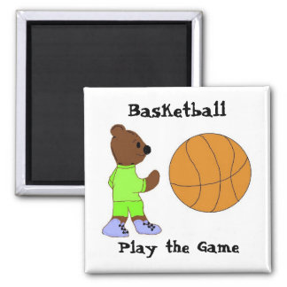 Play the Game, Basketball 2 Inch Square Magnet