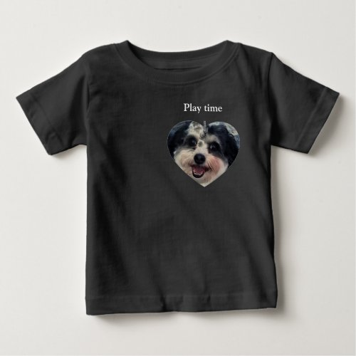Play time cute heart Dog K_Cee photo Baby T_Shirt