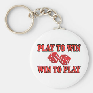 Play To Win - Win To Play - Craps Basic Round Button Keychain