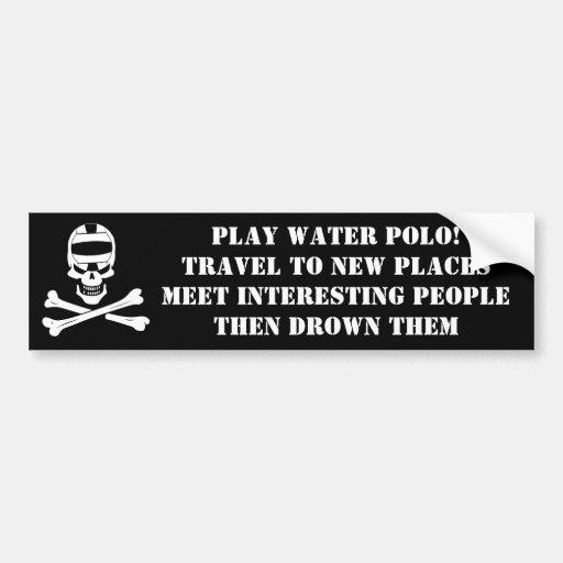 Play Water Polo Jolly Roger Bumper Sticker Car Bumper Sticker