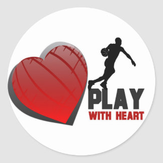 Play With Heart Basketball Classic Round Sticker