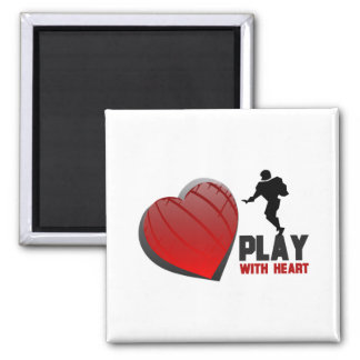 Play With Heart Football Magnet