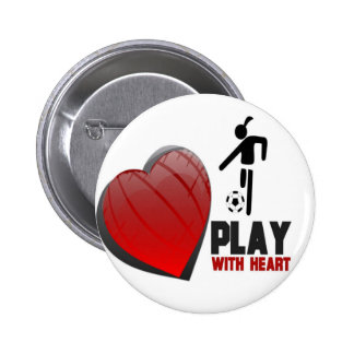 PLAY WITH HEART GIRL'S SOCCER PINBACK BUTTON