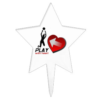 Play With Heart Lady Volleyball Cake Topper
