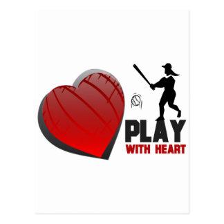 Play With Heart Softball Postcard