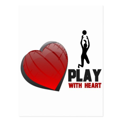 PLAY WITH HEART VOLLEYBALL POSTCARD