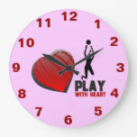 Play With Heart Volleyball Wall Clock
