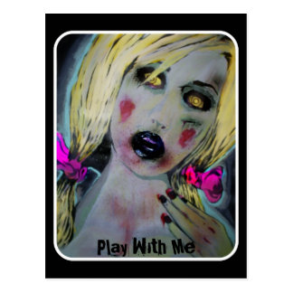 Play With Me Zombie Postcard