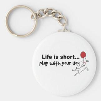 Play with Your Dog Basic Round Button Keychain