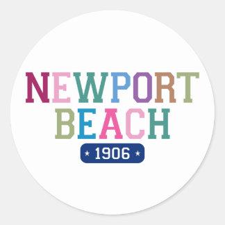 Playa 1906 de Newport Pegatina Redonda