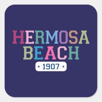 Playa 1907 de Hermosa Pegatina Cuadrada