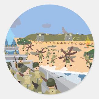Playa 1944 de Omaha del día D (historia simple) Pegatina Redonda