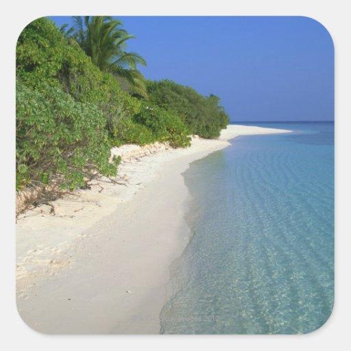 Playa 4 pegatina cuadrada