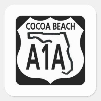 Playa A1A del cacao Pegatina Cuadrada