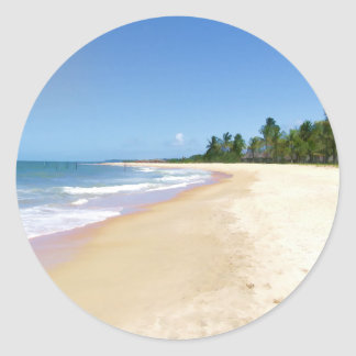 Playa abandonada pegatina redonda