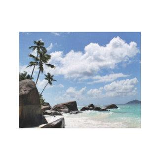 Playa aislada en Seychelles Impresiones En Lona Estiradas