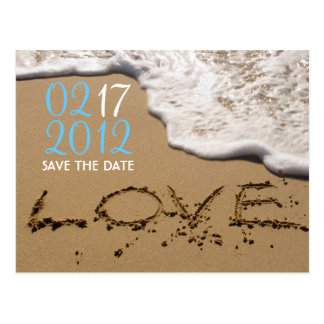 "Playa ""amor en reserva de la arena"" la fecha tarjeta postal"