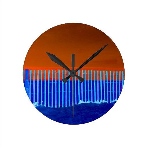 playa anaranjada de la Florida del cielo de la are Reloj De Pared