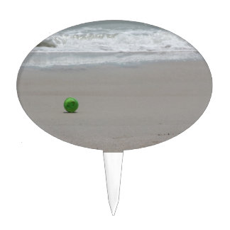 Playa arena ondas y cubo verde decoración de tarta