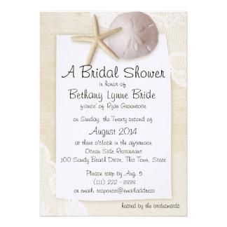 Playa atesorada y cordón blanco Showerd nupcial Invitacion Personalizada