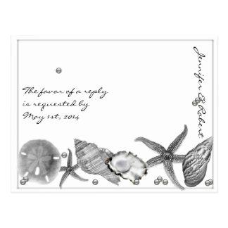 Playa atractiva en la postal de plata de RSVP