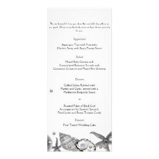 Playa atractiva en menú de la bodas de plata tarjeta publicitaria a todo color