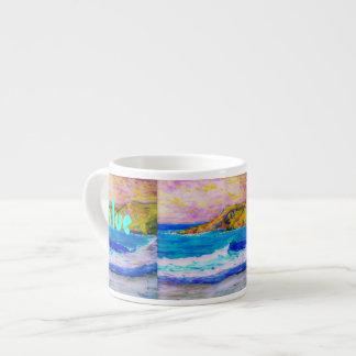 playa azul de la orilla taza espresso