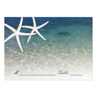 Playa azul de las estrellas de mar del mar de la tarjetas de visita grandes