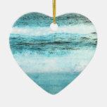 Playa azul de las olas oceánicas adornos de navidad