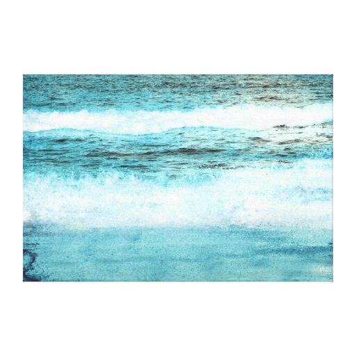 Playa azul de las olas oceánicas impresión en lona estirada