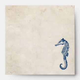 Playa azul del caballo de mar del vintage sobres