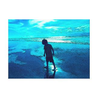 Playa azul impresión en lienzo estirada