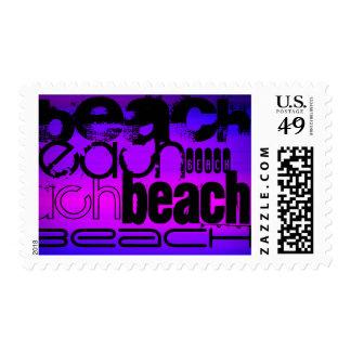 Playa; Azul violeta y magenta vibrantes Sellos