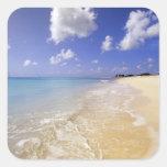 Playa baja de la bahía, Barbuda, Antigua Pegatina Cuadrada