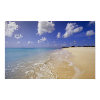 Playa baja de la bahía Barbuda Antigua Poster