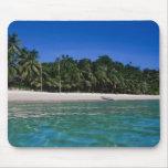 Playa, balsa en una distancia tapete de ratones