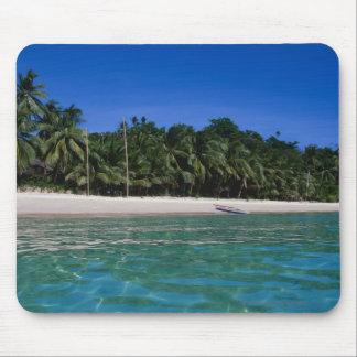 Playa, balsa en una distancia alfombrillas de ratones