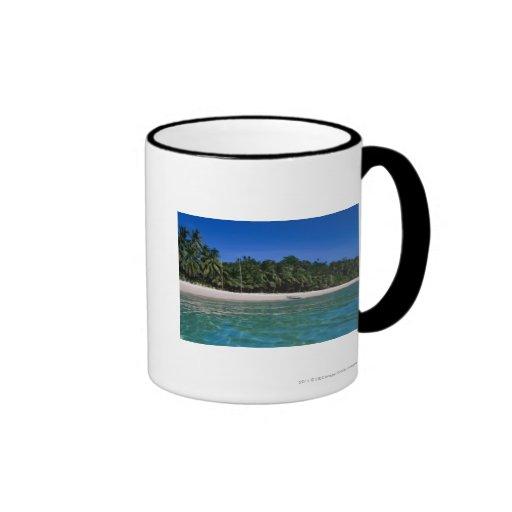 Playa, balsa en una distancia taza a dos colores