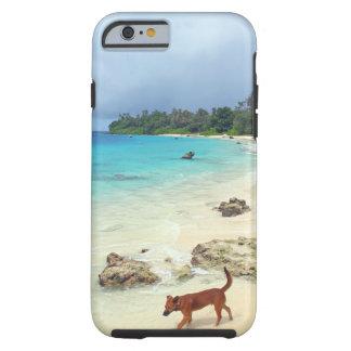 Playa blanca de la arena de la isla tropical del funda de iPhone 6 tough