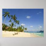 Playa blanca de la arena en el poster de Palawan