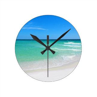 Playa blanca reloj redondo mediano
