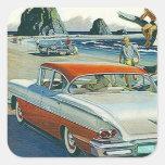 Playa blanca roja auto del Dos-tono del coche del Pegatinas Cuadradas