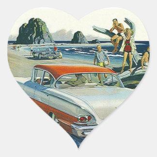 Playa blanca roja auto del Dos-tono del coche del Pegatina En Forma De Corazón