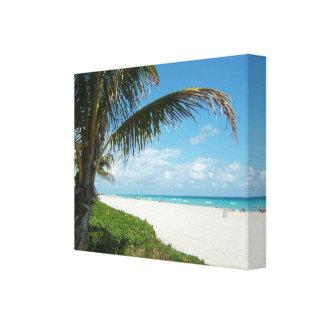 Playa blanca w/Palm de la arena Impresiones En Lona
