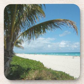 Playa blanca w/Palm de la arena Posavasos